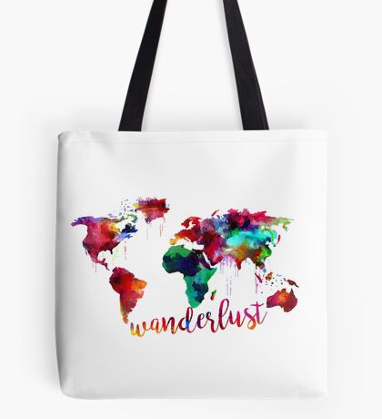 Watercolor Wanderlust World Map  Tote Bag
