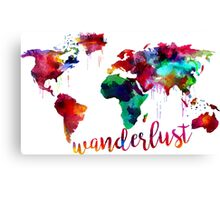 Watercolor Wanderlust World Map  Canvas Print