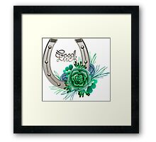 Horseshoes in silver color with succulent design. Framed Print