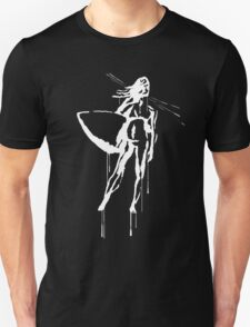 Splatter Surfer Girl (white) Unisex T-Shirt