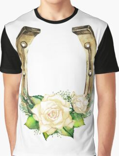 Watercolor horseshoes in golden color with white roses design Graphic T-Shirt