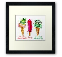 Ice cream flavors Framed Print