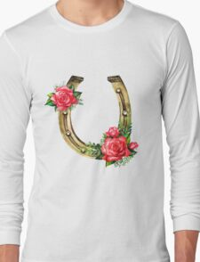 Watercolor horseshoes in golden color with red roses design Long Sleeve T-Shirt