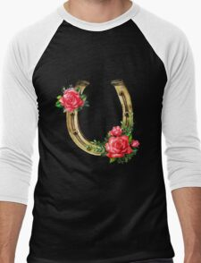 Watercolor horseshoes in golden color with red roses design Men's Baseball ¾ T-Shirt