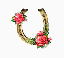 Watercolor horseshoes in golden color with red roses design Unisex T-Shirt