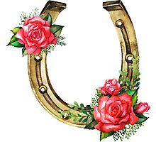 Watercolor horseshoes in golden color with red roses design Photographic Print