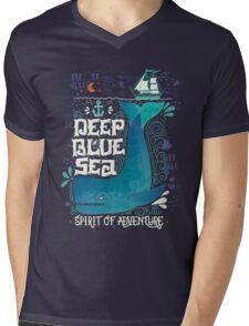 Deep blue sea. Spirit of adventure. Mens V-Neck T-Shirt