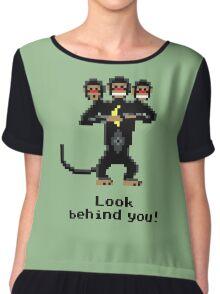 Three-Headed Monkey Chiffon Top