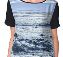 blue toned rocky beal beach Chiffon Top