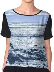 blue toned rocky beal beach Chiffon Top