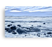 blue toned rocky beal beach Canvas Print