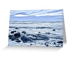 blue toned rocky beal beach Greeting Card