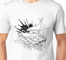 Graphic whales flying in the sky with ink splash on background Unisex T-Shirt