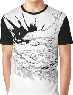 Graphic whales flying in the sky with ink splash on background Graphic T-Shirt