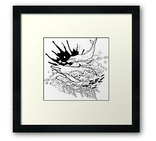 Graphic whales flying in the sky with ink splash on background Framed Print
