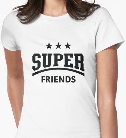 Super Friends (Black) Womens Fitted T-Shirt