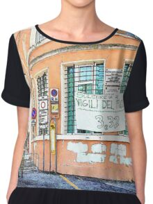 L'Aquila: pink building with soldier Chiffon Top