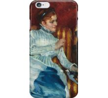 Mary Cassatt - Woman on a Striped Sofa with a Dog 1876 iPhone Case/Skin