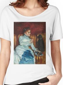 Mary Cassatt - Woman on a Striped Sofa with a Dog 1876 Women's Relaxed Fit T-Shirt