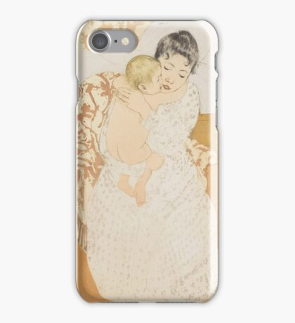 Mary Cassatt - Maternal Caress 1890. Woman Sitting with a Child , American Impressionism  iPhone Case/Skin
