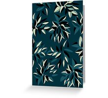 leaves blue green Greeting Card