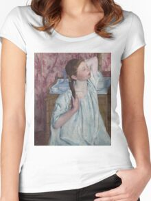 Mary Cassatt - Girl Arranging Her Hair 1886 American Impressionism  Women's Fitted Scoop T-Shirt