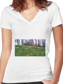 Daffodils Rising Women's Fitted V-Neck T-Shirt