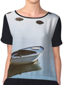 Water mirror and a small boat Chiffon Top
