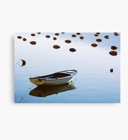 Water mirror and a small boat Canvas Print
