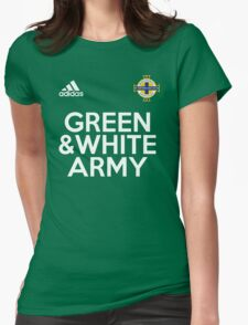 Green and White Army  Womens Fitted T-Shirt