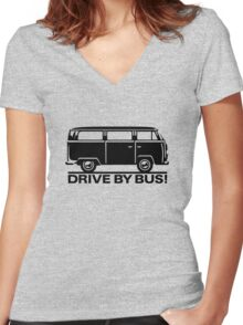 Drive by Bus 2 (black) Women's Fitted V-Neck T-Shirt