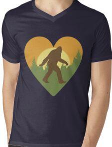 Bigfoot Heart Mens V-Neck T-Shirt