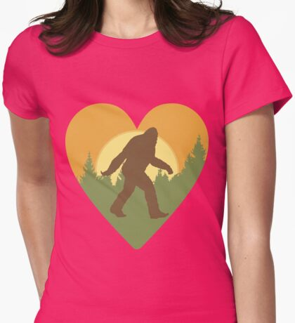Bigfoot Heart Womens Fitted T-Shirt