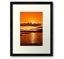 boats in a quiet bay at sunset Framed Print
