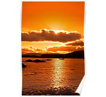 boats in a quiet bay at sunset Poster