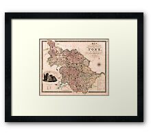 Map of the West Riding of Yorkshire, c. 1832 Framed Print