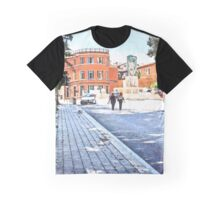 L'Aquila: women on the street with fountain and red building Graphic T-Shirt