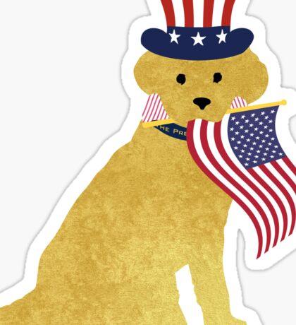 Preppy Patriotic Yellow Lab Sticker