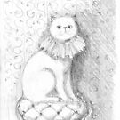 Cat with ruffled collar - pencil sketch by Roberta Angiolani