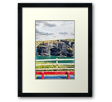 red and blue seat view of the virgin rock Framed Print