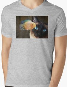 Wishful Thinking 2 - Siamese Cat Art - Sharon Cummings Mens V-Neck T-Shirt