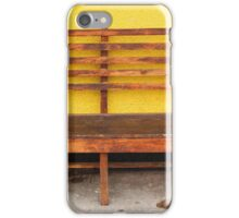 Wood Bench Next to a Yellow Wall iPhone Case/Skin