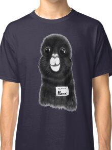Funny Cute Hand Drawn Llama in Black and White Classic T-Shirt