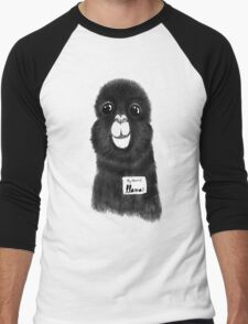 Funny Cute Hand Drawn Llama in Black and White Men's Baseball ¾ T-Shirt