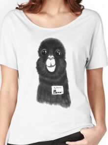 Funny Cute Hand Drawn Llama in Black and White Women's Relaxed Fit T-Shirt