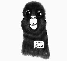 Funny Cute Hand Drawn Llama in Black and White Unisex T-Shirt