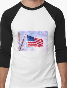 Mystic Memorial Day Flag Men's Baseball ¾ T-Shirt