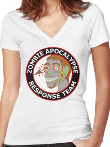 Zombie Apocalypse Response Team Funny Cartoon Women's Fitted V-Neck T-Shirt