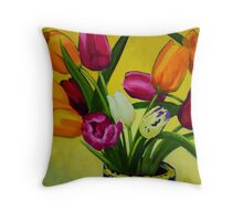 Artificial tulips in vase Throw Pillow