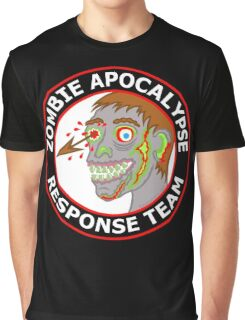 Zombie Apocalypse Response Team Funny Cartoon Graphic T-Shirt